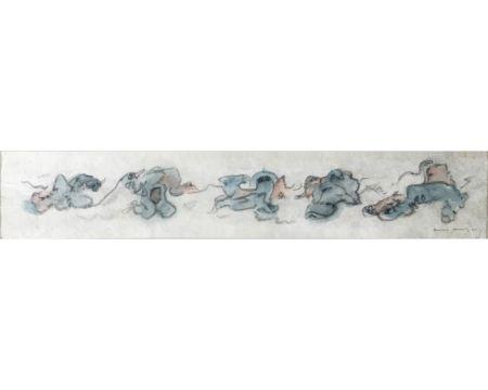 技術的なありません Tanning - CHIENS FOUS. Aquarelle, crayon gras sur papier Japon nacré