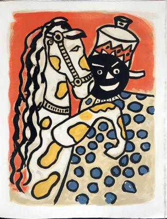 リトグラフ Leger - Cirque : Clown et Cheval. 1950