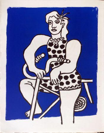 リトグラフ Leger - Cirque : Cycliste sur fond bleu. 1950