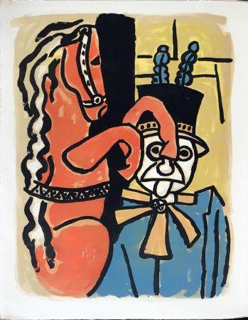 リトグラフ Leger - Cirque : Dompteur et cheval. 1950