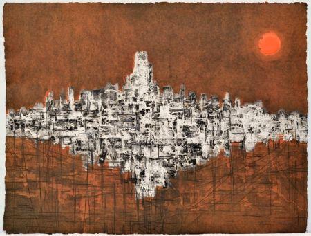 木版 Ferran -  Ciutat de nit amb variació de llum