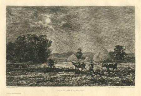 彫版 Daubigny - Clair de lune à Valmondois