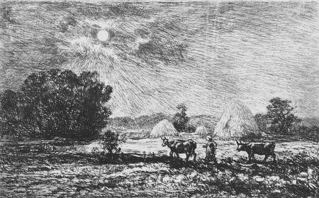 エッチング Daubigny - Clair de lune a Valmondois