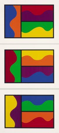 シルクスクリーン Lewitt - Colors Divided By Wavy Lines