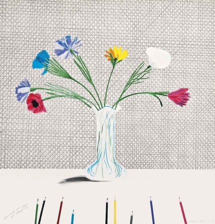 リトグラフ Hockney - Coloured Flowers Made Of Paper And Ink