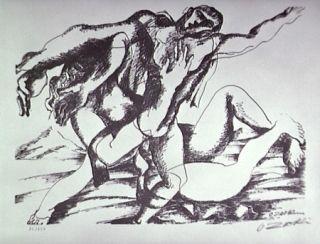 リトグラフ Zadkine - Combat avec l'Amazone Hippolyte