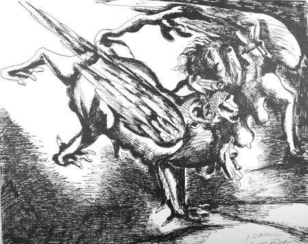 リトグラフ Zadkine - Combat avec l'hydre de Lerne