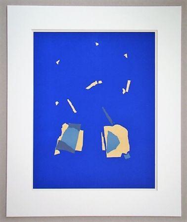 リトグラフ De Stael - Comosition Sur Fond Bleu