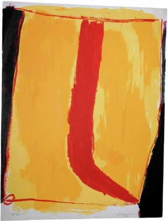 シルクスクリーン Guerrero - Composición en amarillo y rojo