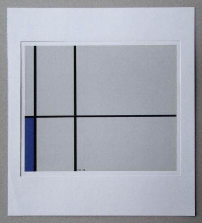 シルクスクリーン Mondrian - Compositie met blauw - 1938