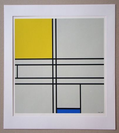 シルクスクリーン Mondrian - Compositie met blauw en geel - 1935