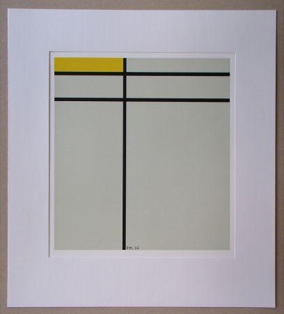 シルクスクリーン Mondrian - Compositie met geel - 1935