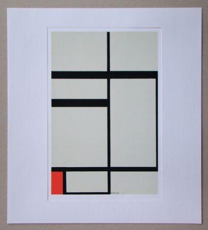 シルクスクリーン Mondrian - Compositie met rood - 1931