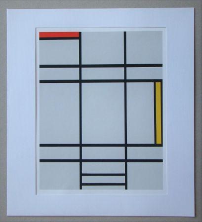 シルクスクリーン Mondrian - Compositie met rood en geel - 1935