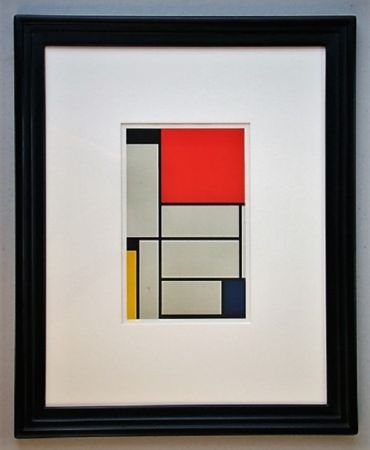 リトグラフ Mondrian - Compositie met rood, geel, blauw, zwart en grijs