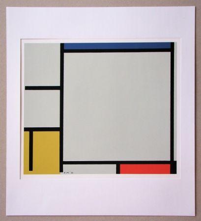 シルクスクリーン Mondrian - Compositie met rood, geel en blauw - 1922