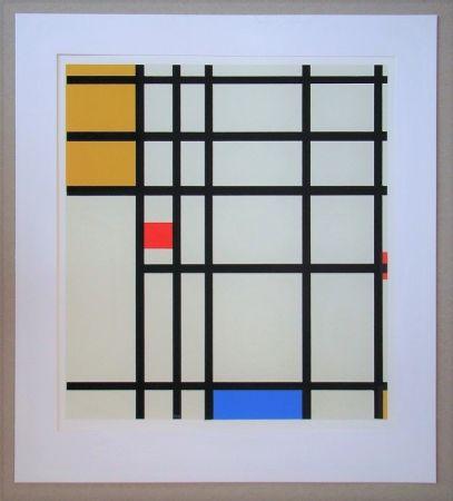 シルクスクリーン Mondrian - Compositie met rood, geel en blauw - 1936/43