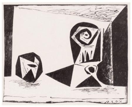 リトグラフ Picasso - Composition Au Verre À Pied