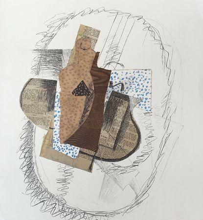 リトグラフ Braque (After) - Composition au violon et journal découpé