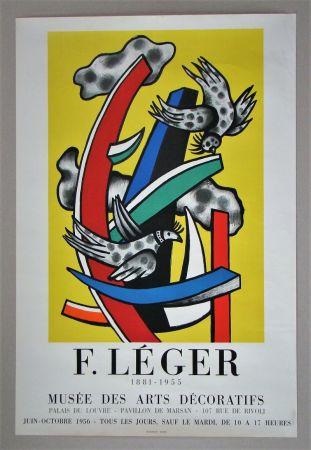 掲示 Leger - Composition aux deux oiseaux sur fond jaune, 1955