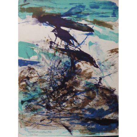 リトグラフ Zao - Composition bleu et brune