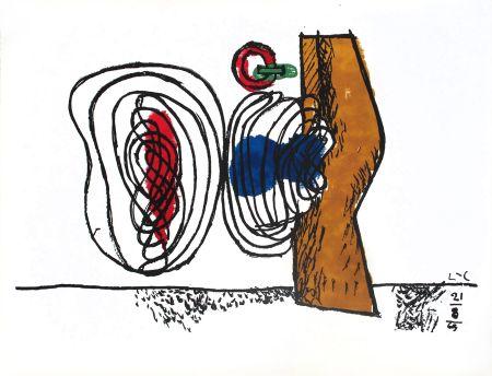 リトグラフ Le Corbusier - Composition bleu et rouge