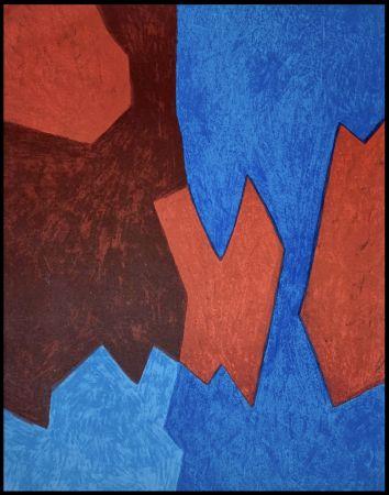 リトグラフ Poliakoff - Composition Bleue et Rouge
