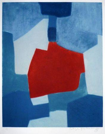 彫版 Poliakoff - Composition bleue et rouge