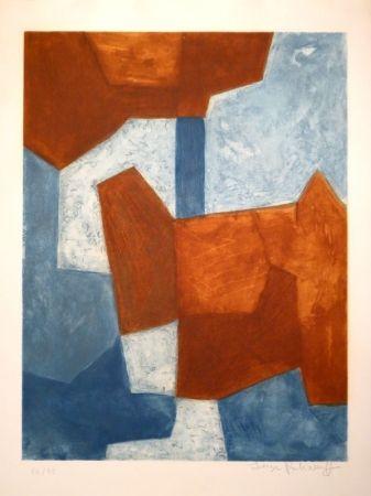 エッチングと アクチアント Poliakoff - Composition bleue et rouge / Komposition in Blau und Rot