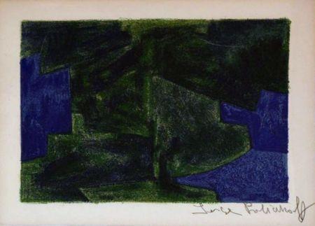 リトグラフ Poliakoff - Composition bleue et verte n°41