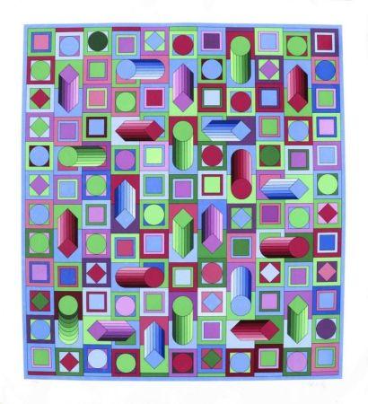 シルクスクリーン Vasarely - Composition cinétique