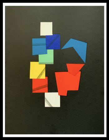 リトグラフ Agam - Composition couleurs sur fond noir