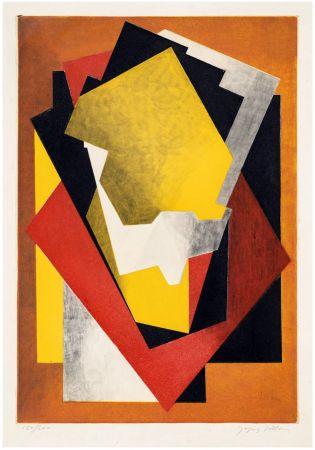 エッチングと アクチアント Villon - Composition Cubiste (1927) signée au crayon.