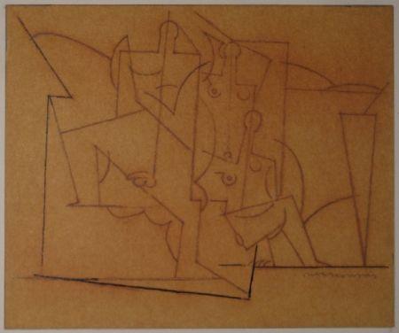モノタイプ Marcoussis - Composition cubiste / Kubistische Komposition (Mann und zwei Frauen).