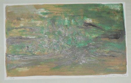 リトグラフ Zao - Composition En Vert