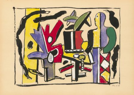 ステンシル Leger - COMPOSITION FEMME EN BLEU (1938) de l'album : Douze Contemporains par J. Lassaigne (1959)