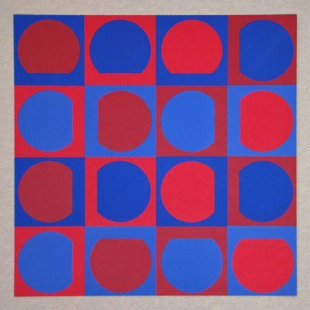 シルクスクリーン Vasarely - Composition Folklore Planétaire