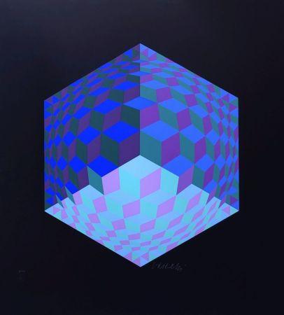 シルクスクリーン Vasarely - Composition géométrique