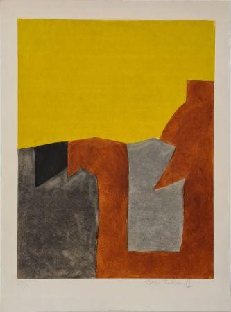 エッチングと アクチアント Poliakoff - Composition grise brune et jaune IX