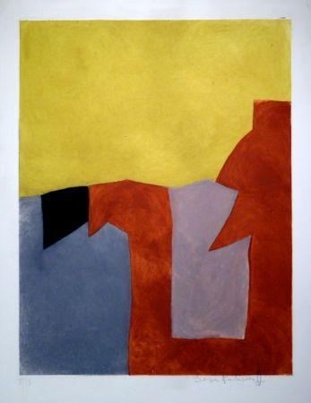 エッチングと アクチアント Poliakoff - Composition grise, brune et jaune / Komposition in Grau, Braun und Gelb