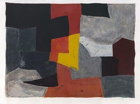 リトグラフ Poliakoff - Composition grise rouge et jaune