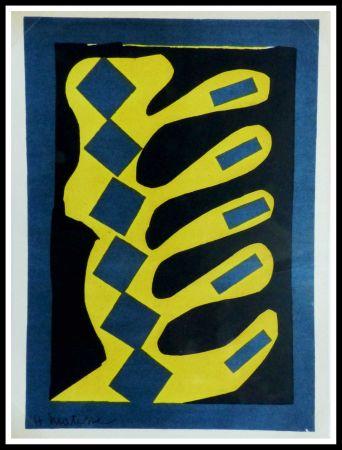 リトグラフ Matisse - COMPOSITION  JAUNE BLEU ET NOIR