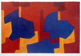 リトグラフ Poliakoff - Composition jaune bleue et rouge
