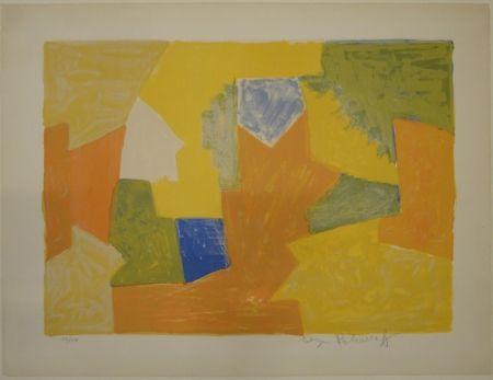 リトグラフ Poliakoff - Composition jaune, orange et verte / Komposition Gelb, Orange und Grün.
