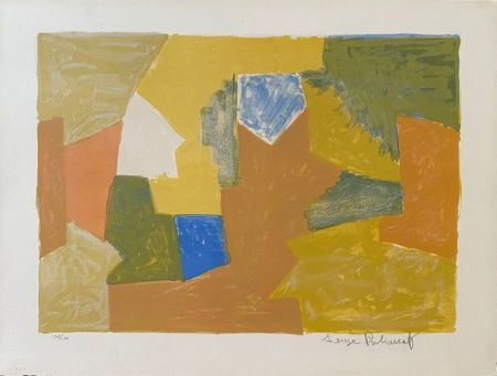 リトグラフ Poliakoff - Composition jaune, Orange et Verte L14