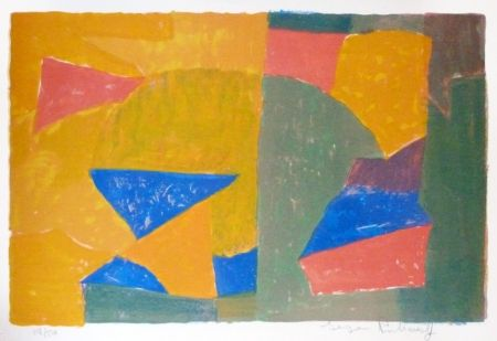 リトグラフ Poliakoff - Composition jaune, verte, bleue et rouge