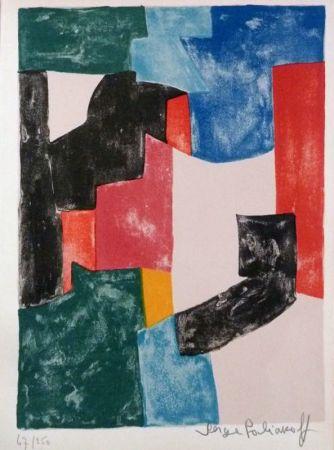 リトグラフ Poliakoff - Composition noir, bleu et rouge