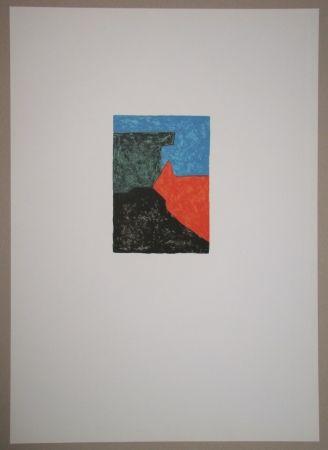 リトグラフ Poliakoff - Composition Noire, Rouge, Bleue Et Verte