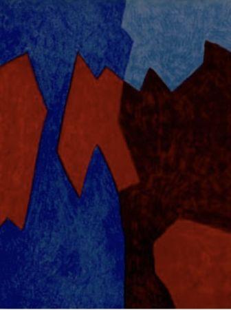 リトグラフ Poliakoff - Composition rouge et bleu