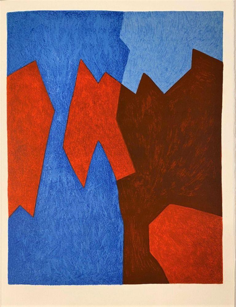 リトグラフ Poliakoff - Composition rouge et bleue
